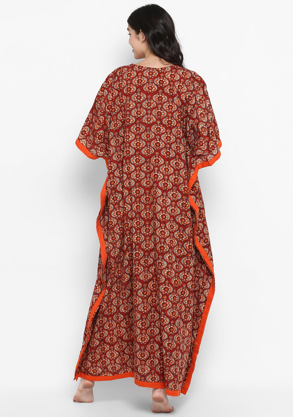 Maroon Orange Hand Block Printed Flower Motif V-Neck Cotton Kaftan