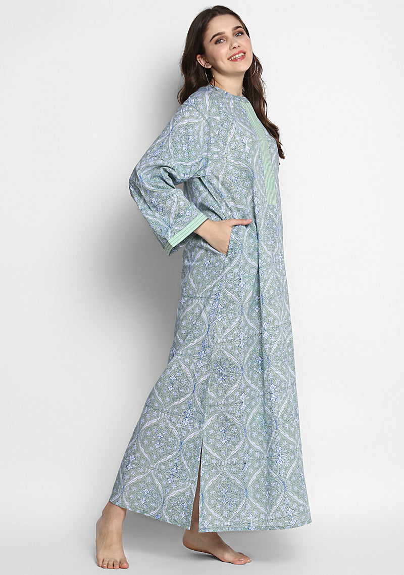 Blue Mughal Design Hand Block Printed Cotton Night Dress with Long Sleeves and Zip Detail