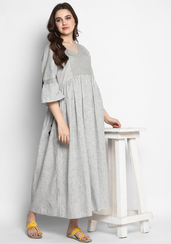 White Grey Checked Long Cotton Dress  With Bell Sleeves