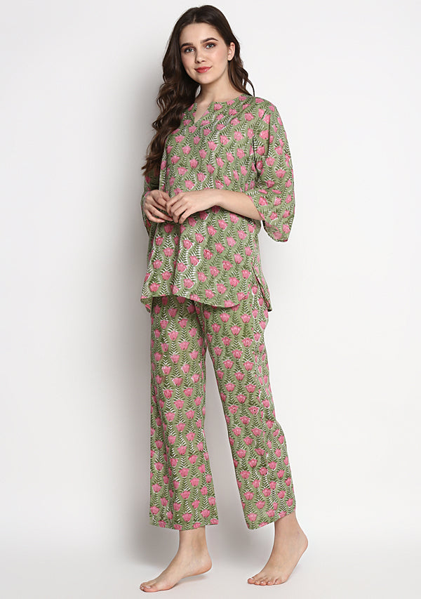 Green Pink Hand Block Printed Flower Motif Cotton Night Suit