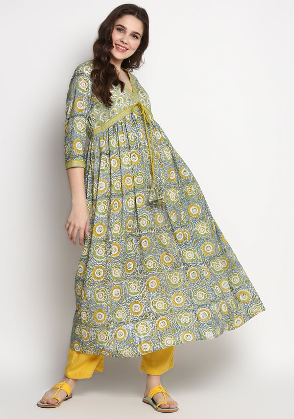 Lime Green Yellow Hand Block Printed Cotton Kurta with Trimmings paired with Yellow Pants