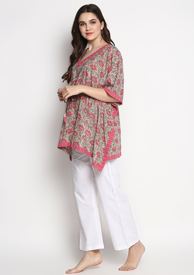 Beige Pink Hand Block Printed Flower Motif Short Kaftan with White Pyjamas