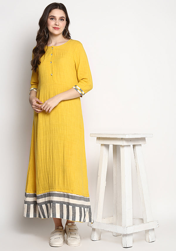 Long Yellow Dress With Grey White Trimming at the Cuff and Hemline