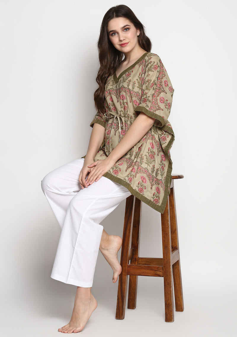 Green Pink Mughal Print Hand Block Printed Floral Short Kaftan with White Pyjamas