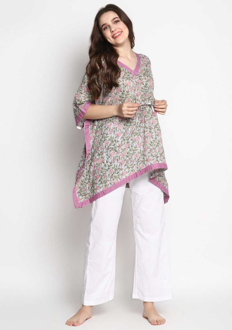 Grey Pink Hand Block Printed Floral Short Kaftan with White Pyjamas