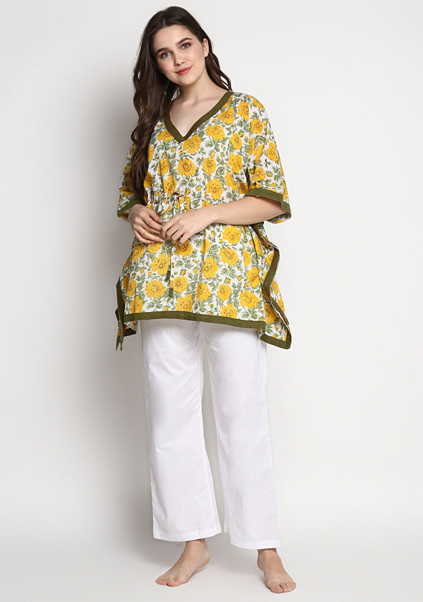 Yellow Green Hand Block Printed Floral Short Kaftan Tunic