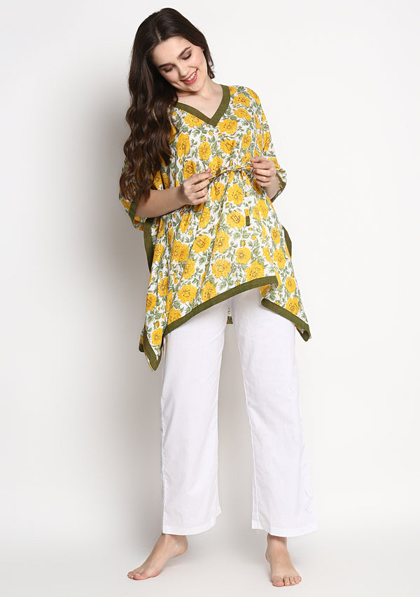 Yellow Green Hand Block Printed Floral Short Kaftan with White Pyjamas