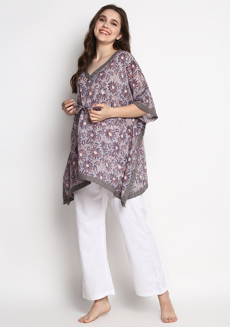 Grey Red Hand Block Printed Floral Short Kaftan with White Pyjamas