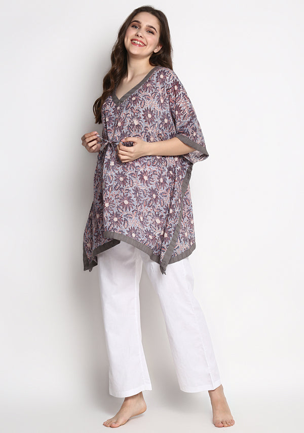 Grey Red Hand Block Printed Floral Short Kaftan Tunic
