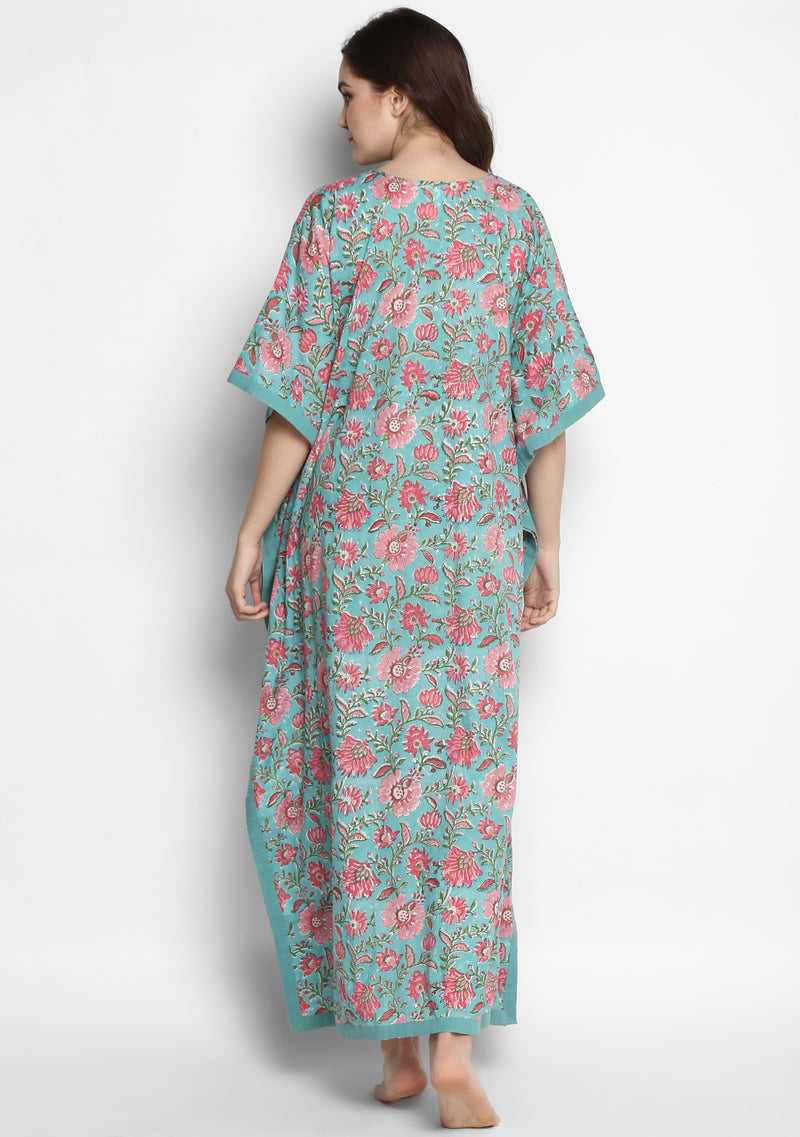 Turquoise Pink Hand Block Printed Floral Tie-Up Waist Cotton Kaftan
