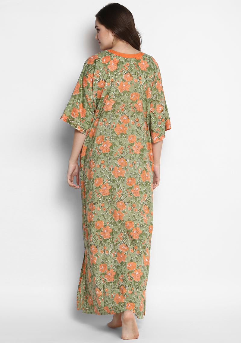 Green Peach Floral Hand Block Printed Cotton Nighty Kaftan with Stitch Lines