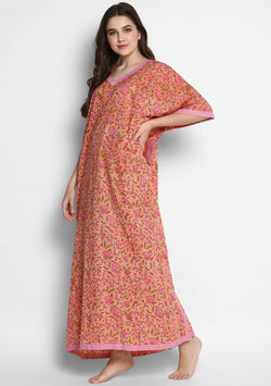 Peach Pink Hand Block Printed Floral V-Neck Cotton Kaftan