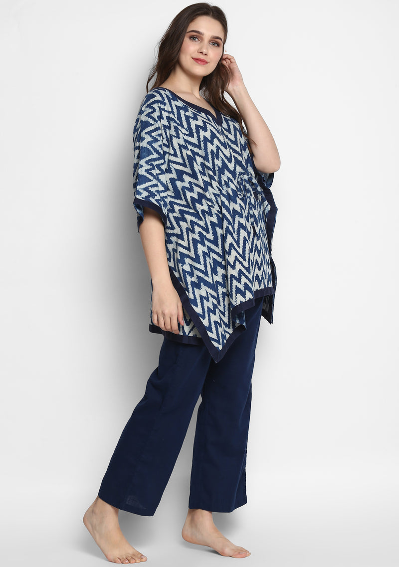 Indigo Ivory Zigzag Hand Block Printed  Short Kaftan with Navy Blue Pyjamas