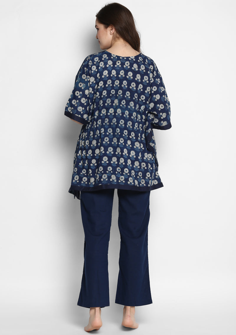 Indigo Ivory Hand Block Printed Flower Motif Short Kaftan with Navy Blue Pyjamas