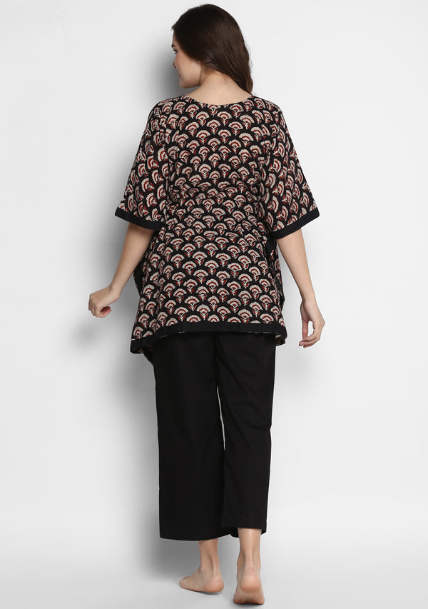 Black Red Hand Block Printed Flower Motif Short Kaftan Tunic