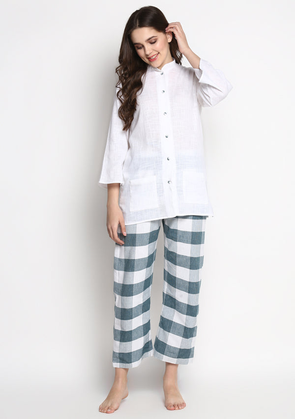 White Green Check Pyjama Set