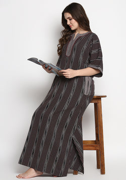 Black Grey Ikat Print Cotton Nighty Kaftan