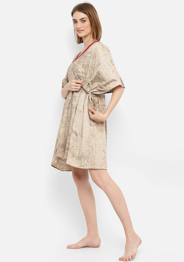 Beige Marble Look Hand Block Printed Short Cotton Dress