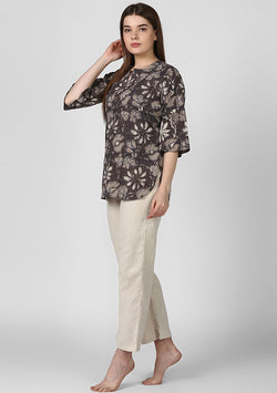 Brown Beige Floral Cotton Night Suit With Ivory Pyjamas