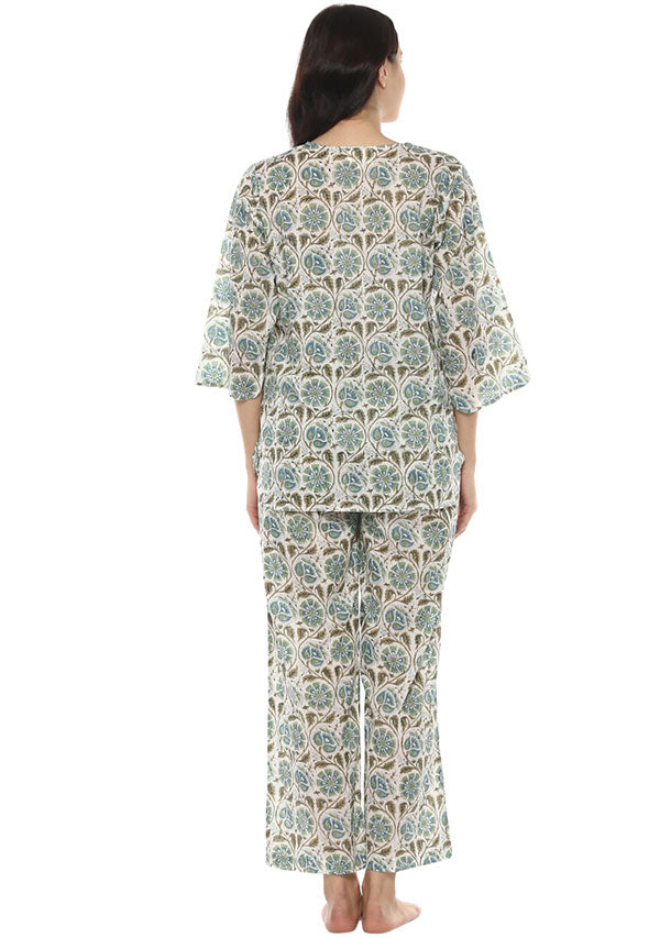Ivory Aqua Floral Hand Block Printed Cotton Night Suit