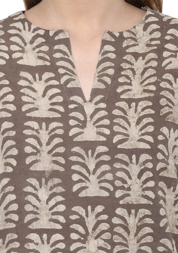 Beige Ivory Tree Motif Hand Block Printed Cotton Night Suit
