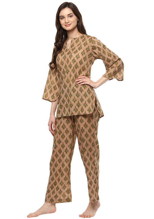 Beige Green Floral Hand Block printed Cotton Night Suit