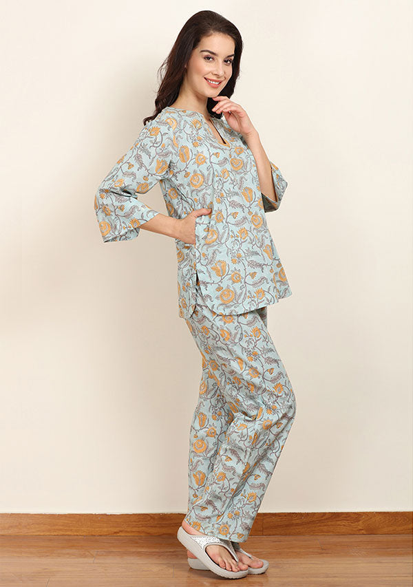 Blue Mustard Floral Hand Block Printed Cotton Night Suit
