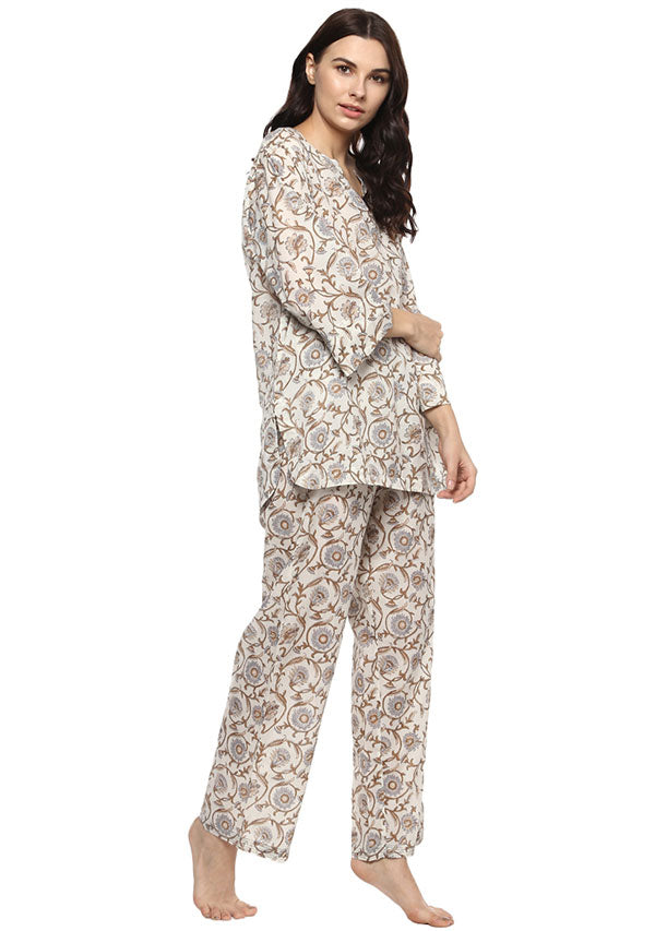 Ivory Brown Floral Hand Block Printed Cotton Night Suit