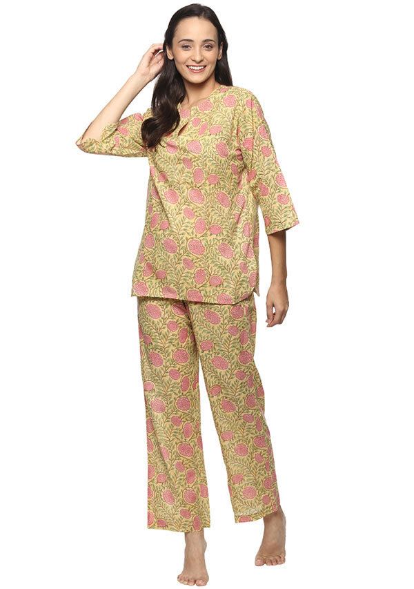 Yellow Pink Floral Hand Block Printed Cotton Night Suit