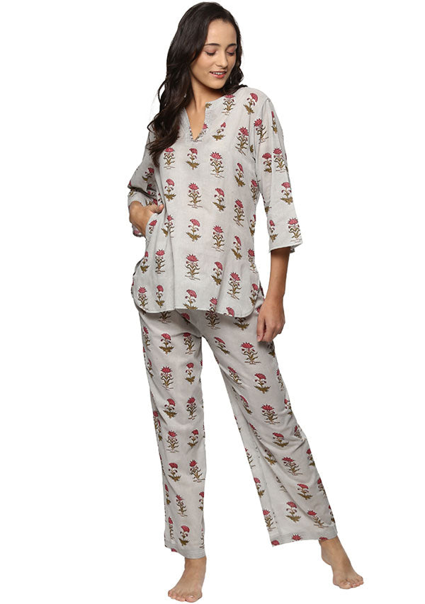 Grey Pink Flower Motif Hand Block Printed Cotton Night Suit