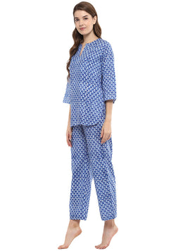 Blue Ivory Droplet  Motif Hand Block Printed Cotton Night Suit