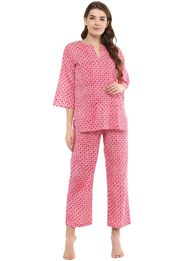 Pink Ivory Droplet Motif Hand Block Printed Cotton Night Suit