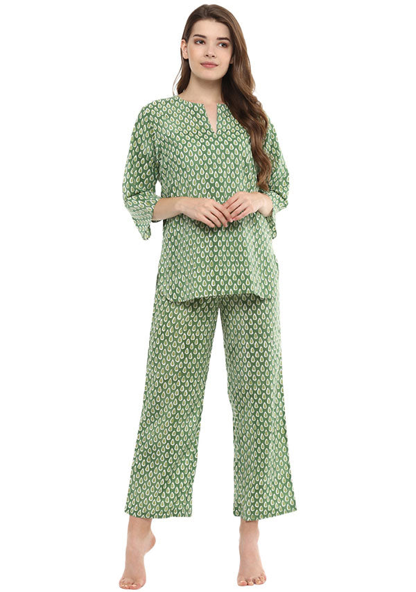Green Ivory Droplet Motif Hand Block Printed Cotton Night Suit