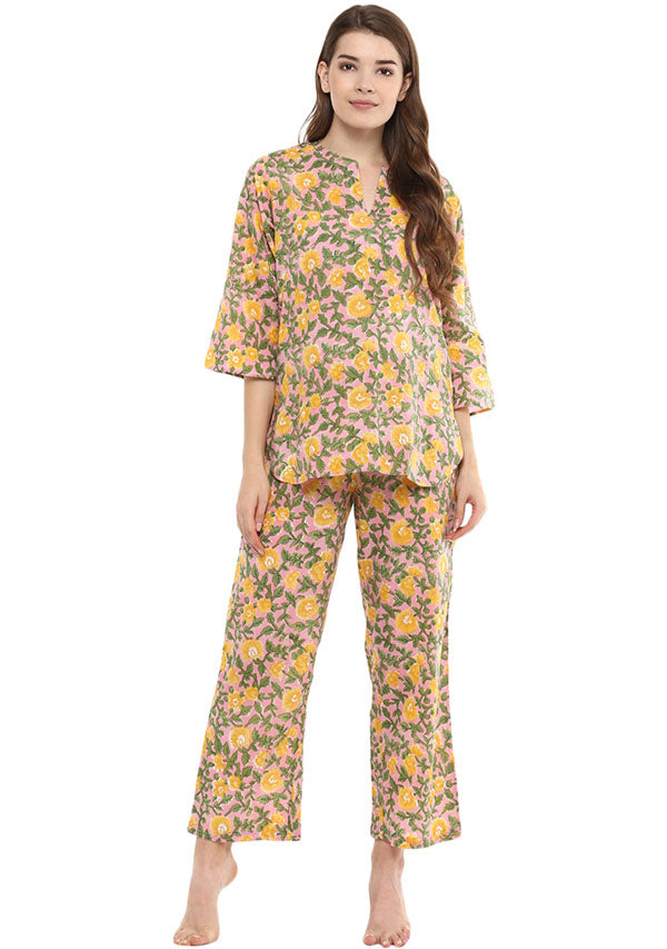 Pink Yellow Floral Hand Block Printed Cotton Night Suit