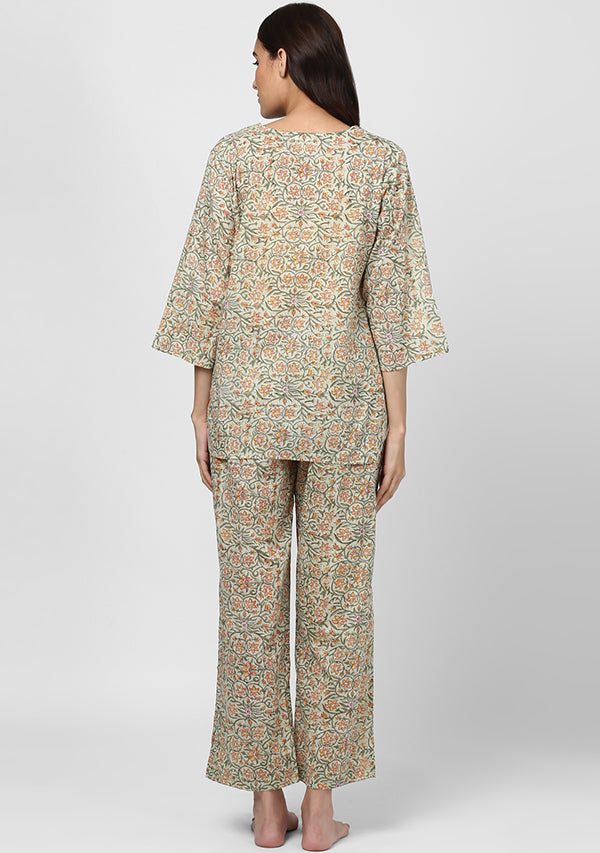 Green Peach Floral Hand Block Printed Cotton Night Suit