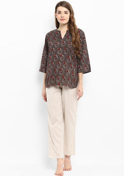 Brown Maroon Flower Motif Hand Block Printed Night Suit with Beige Pyjamas