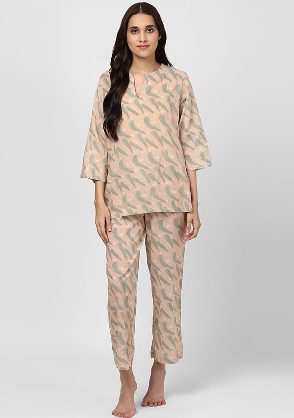 Peach Grey Feather Motif Hand Block Printed Cotton Night Suit