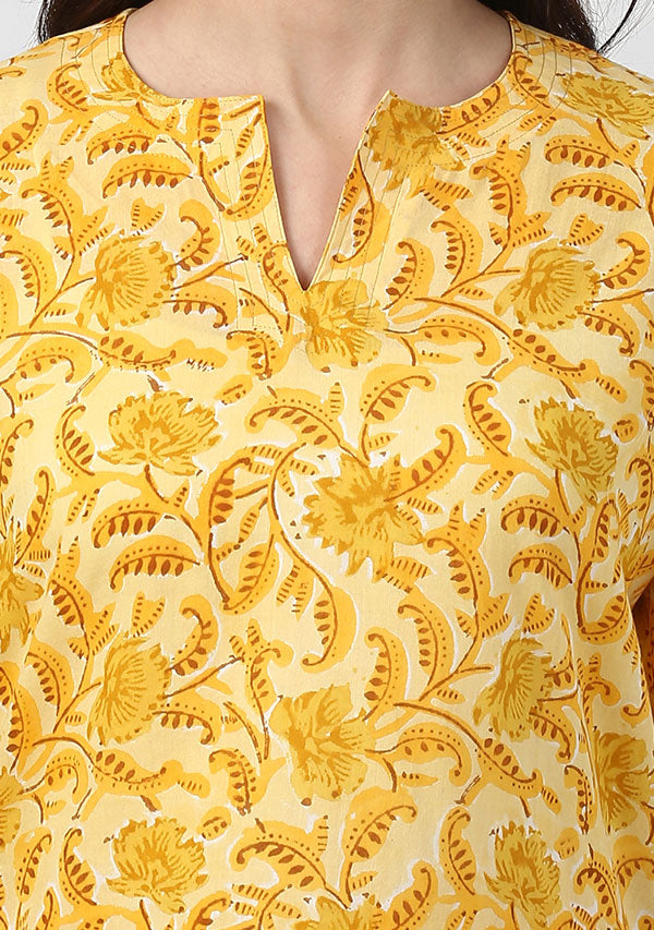 Yellow Ivory Floral Hand Block Printed Cotton Night Suit