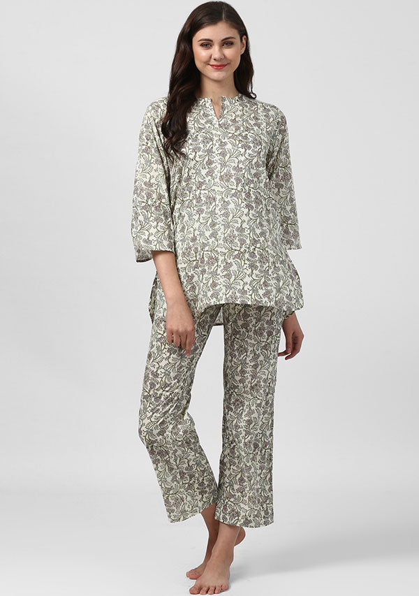 Ivory Green Floral Hand Block Printed Cotton Night Suit