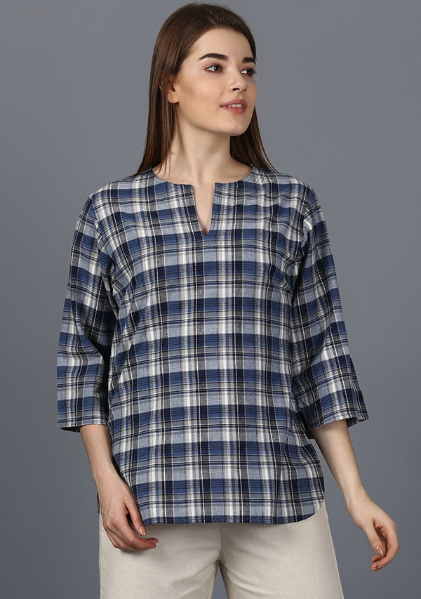 Blue Ivory Check Cotton Night Suit
