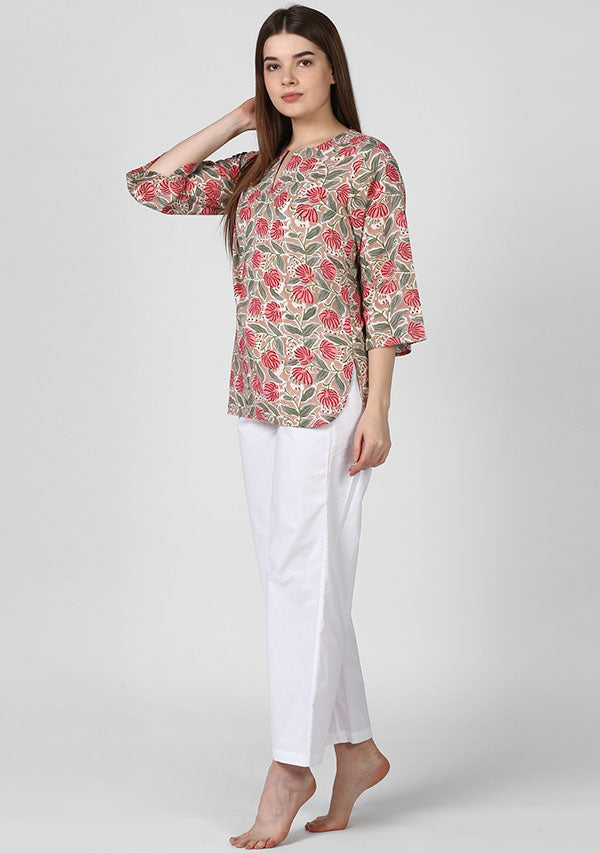 Beige Pink Floral Hand Block Printed Night Suit With White Pyjamas