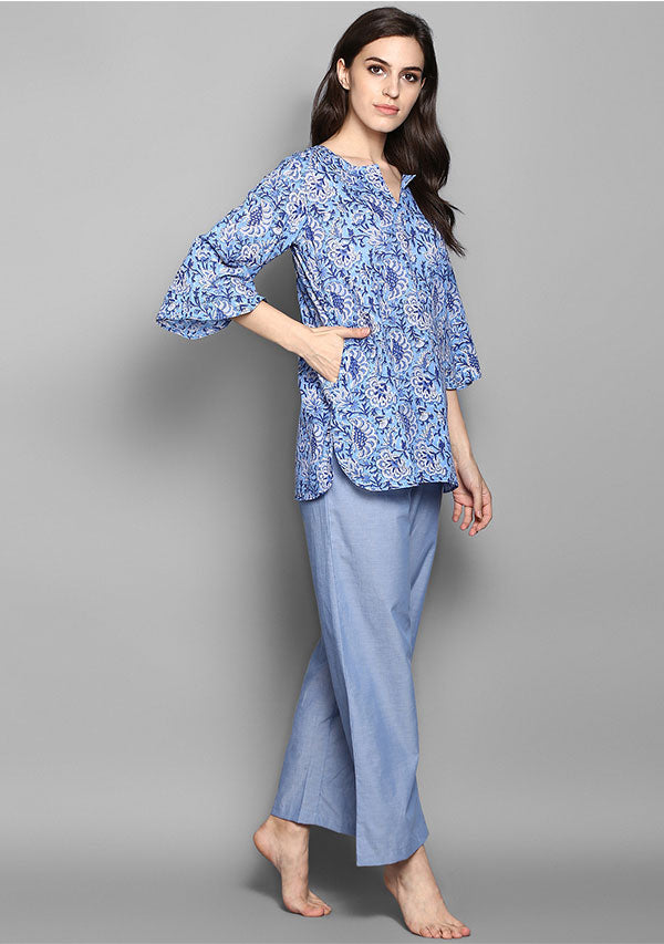 Blue Grey Flower Motif Hand Block Printed Cotton Night Suit