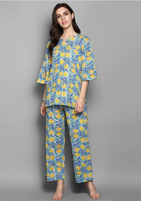 Turquoise Yellow Flower Motif Hand Block Printed Cotton Night Suit