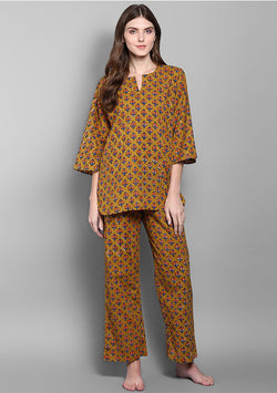 Mustard Orange Flower Motif Hand Block Printed Cotton Night Suit