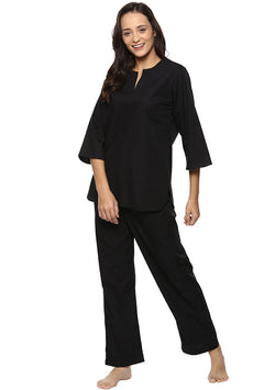Black Cotton Night Suit