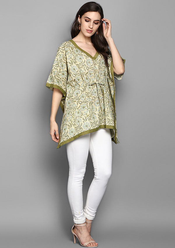 Olive Green Floral Hand Block Printed Short Cotton Kaftan Tunic