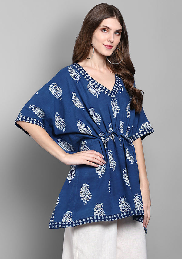 Indigo Silver Paisely Motif Hand Block Printed Short Cotton Kaftan