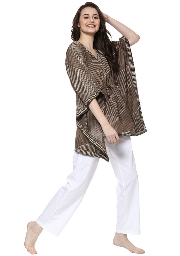Beige Brown Hand Block Printed Short Cotton Kaftan Tunic
