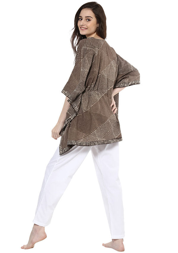 Olive Green Floral Hand Block Printed Short Cotton Kaftan with White Pyjamas
