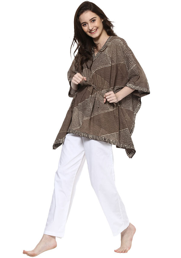 Beige Brown Hand Block Printed Short Cotton Kaftan with White Pyjamas